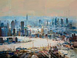 Down to Business by Tom Butler - Original Collage on Board sized 40x30 inches. Available from Whitewall Galleries